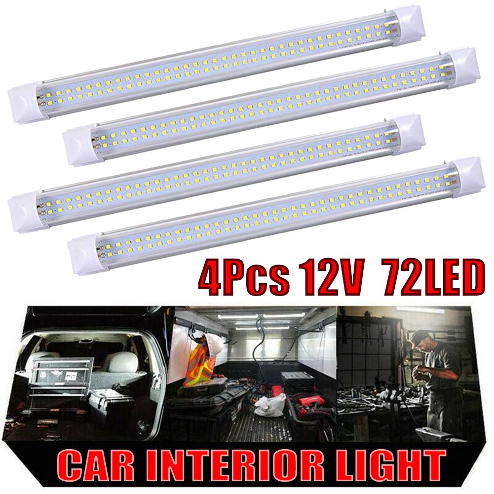 4X LED Streifen Leuchte Röhre 72-LEDs Auto Van VOLT Stablampe Lichtleiste DC12V