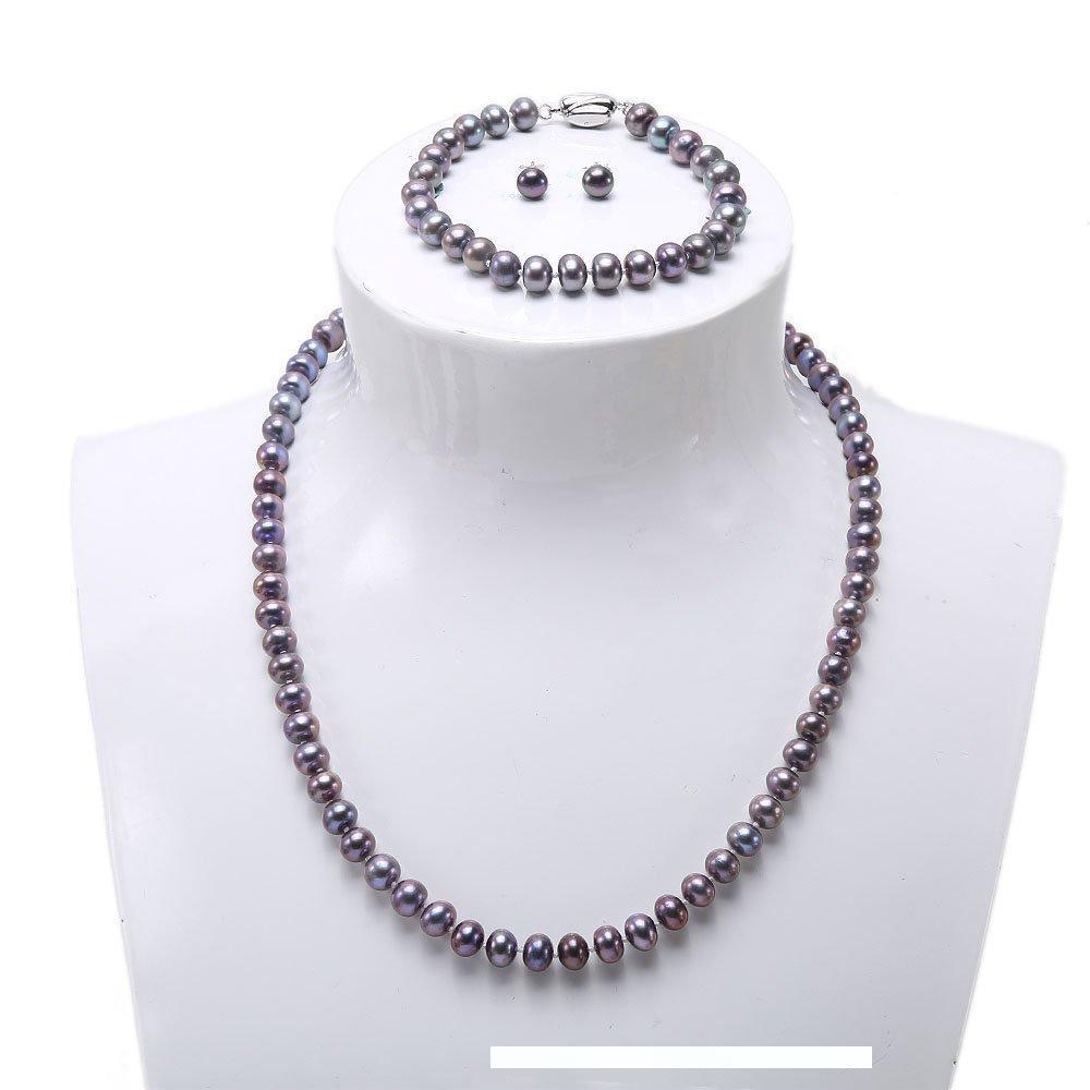 Pearl Bijoux Collier Ensembles Collier de perles deau douce naturelles JYX Bracelet et boucles doreilles en argent sterling 925 bleu paon et blanc