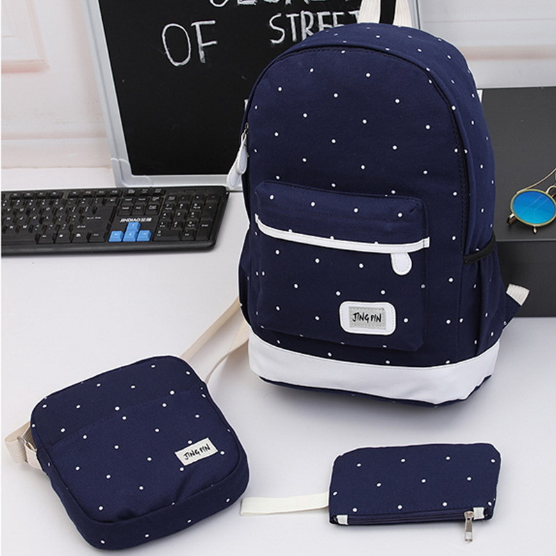 Set Fresh Canvas Women Backpack Big Girl Student Book Bag With Purse Laptop Bag High Quality Ladies School Bag For Teenager Y19061102