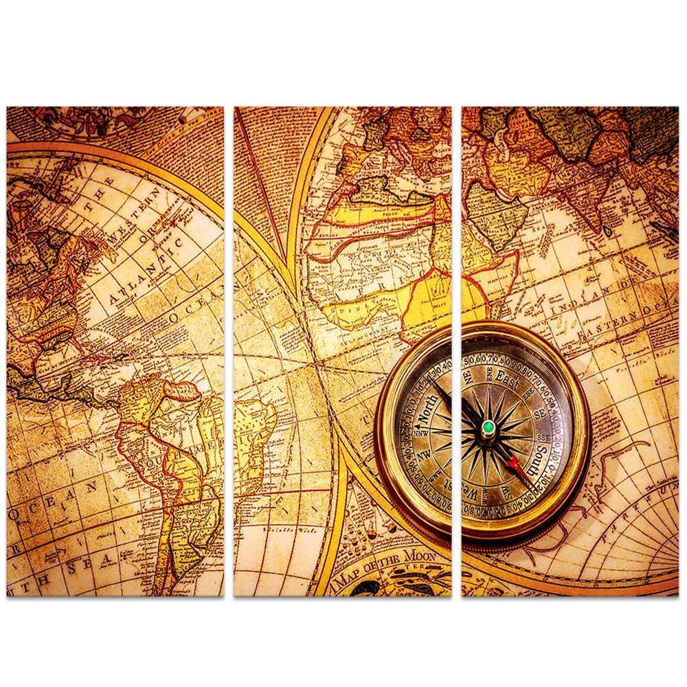 3pcs set DIY handmade Diamond Embroidery diamond mosaic,diamond painting cross stitch Vintage Map And Compass,christmasr gift