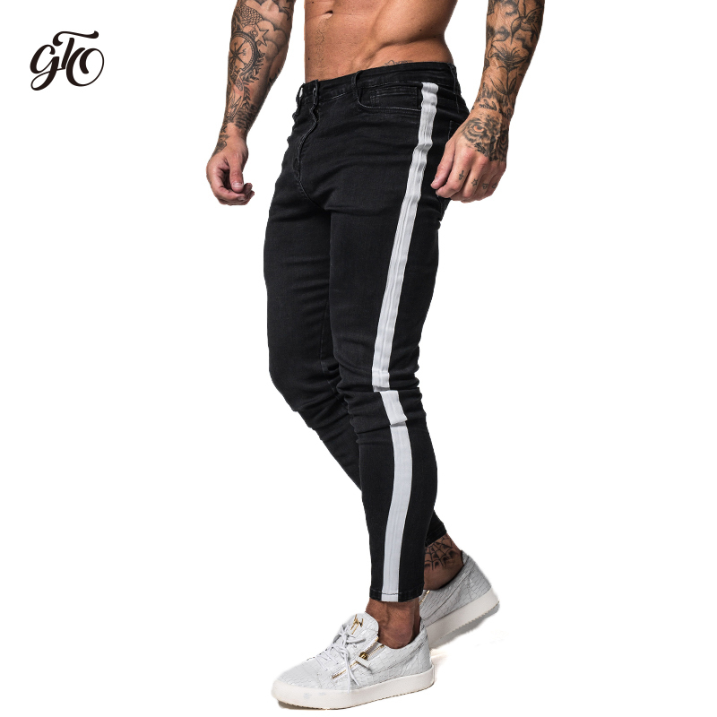 Gingtto Black Skinny Jeans For Men Denim Stretch Slim Fit Jeans Brand Biker Style Classic Hip Hop Ankle Tight Taping Male Zm38 Y190418