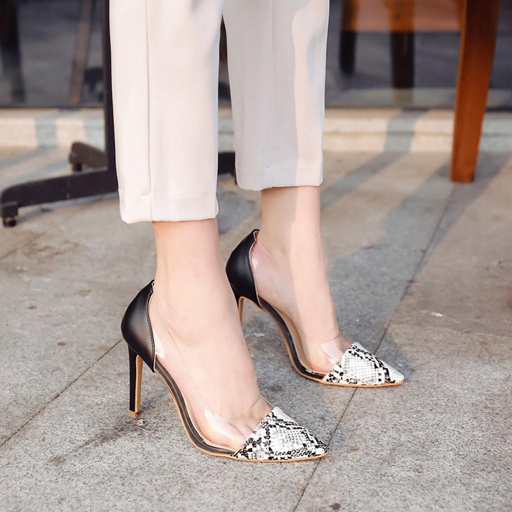 Femme Stiletto Haut Talon Fête Chaussures Bout Pointu Et Serpent Motif Pompe Chaussures Taille