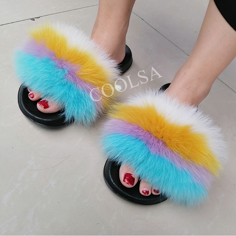Coolsa Señoras Coloridas zapatillas de piel de zorro esponjosas para mujer Lovely Plush Real Fox Hair Slides Party Furry Flip Flops Sandalias de mujer T8190701