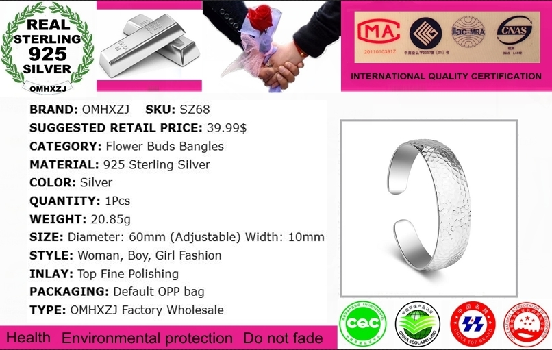 OMHXZJ Wholesale Simple Fashion For Woman Child Gift Flower Bud Striped 925 Sterling Silver Bracelet Bangle Open Adjustable SZ68