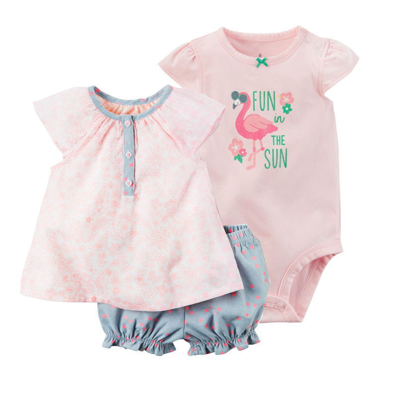 sleeveless tops+o-neck bodysuit+shorts dot for baby girl outfit summer 2019 newborn clothes set infant clothing suit pink cotton