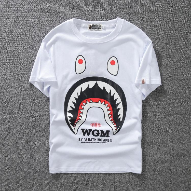 мужская футболка носить акула печати с коротким рукавом мужчины и женщины любители большой футболку