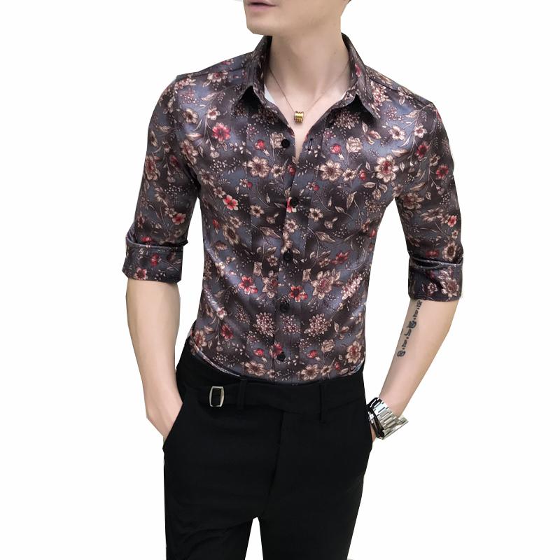 EG /_ HK-uomini alla moda a righe business Slim Fit Manica Lunga Casual Camicia Abito SUP
