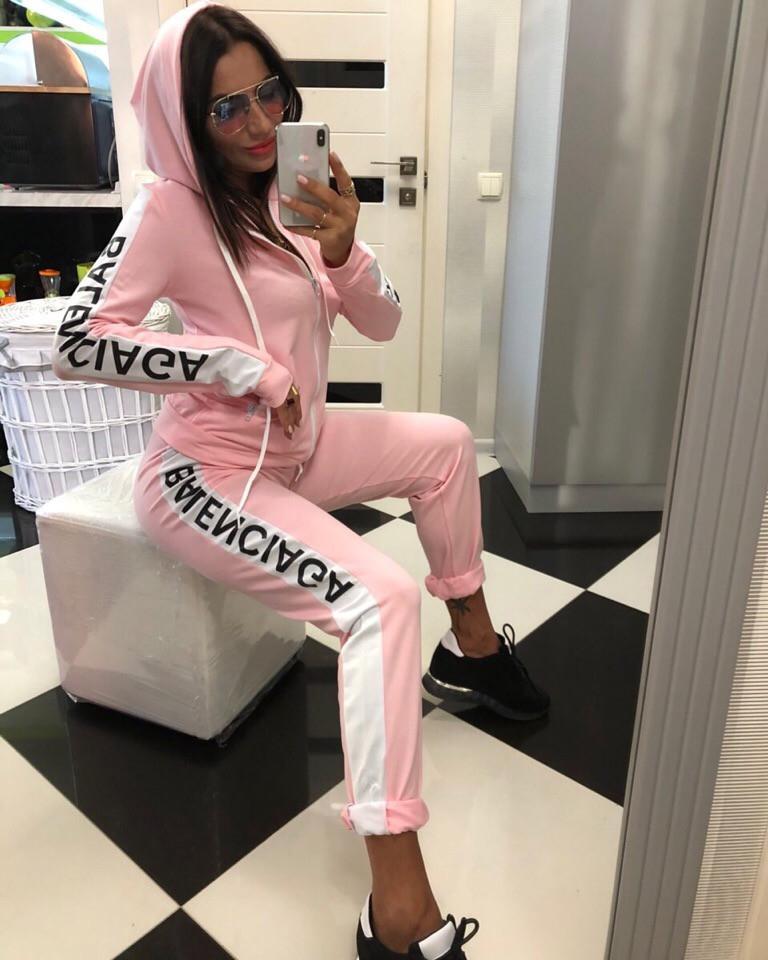 Sport delle donne della lettera di modo tuta con cappuccio di stampa e Leisure Suit