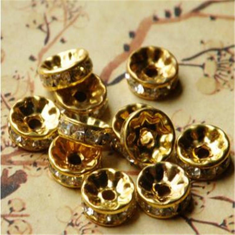 Bille ronde lisse Espaceur Perles Plaqué or 2,4 mm à 12mm pick argent antique