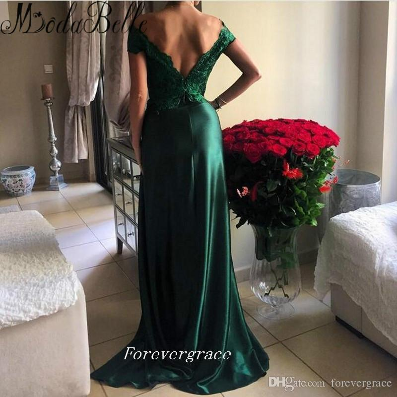 Emerald Green Colour Long Prom Dress Open Side Lace Arabic Style Bright Girls Wear Special Occasion Cheap Party Dress Plus Size