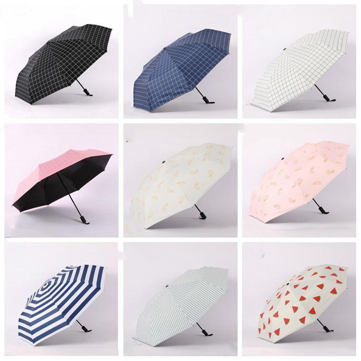 Starry Sky With Various Pentagrams fashion print cute Windproof automatic tri-fold umbrella sun UV protection Sun umbrella