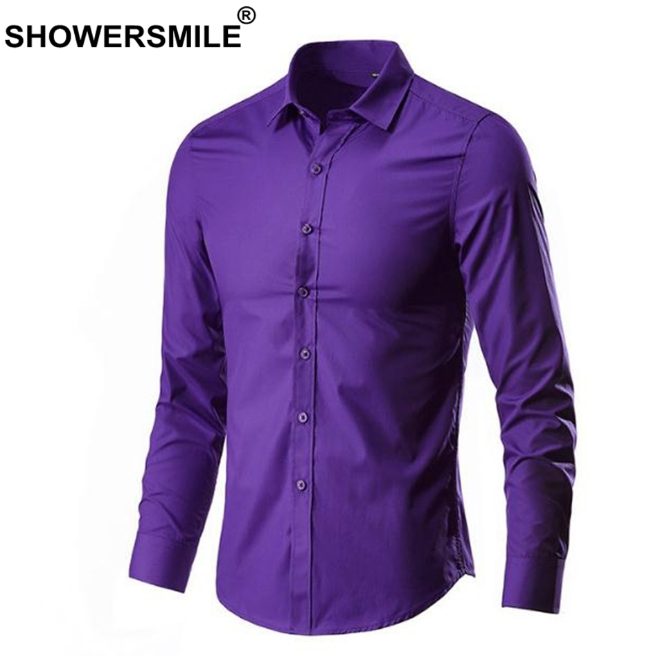 Showersmile Men Shirt In Green Cheap Cotton Shirts Long Sleeve Slim Fit Business Male Fashion Shirt Solid Spring Autumn Clothing Y190506