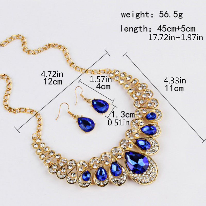 Pendant Necklace Earring Multicolor Water Drop Crystal Bling Jewelry Sets for Women Fashion Bride Wedding Dubai Jewelry Sets