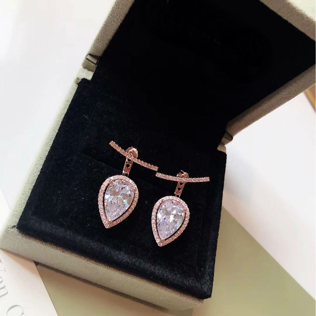 Or Rose Rempli Chaîne Diamant Cristal Inlay Femmes Lady Hoop Stud Boucle d/'oreille Box