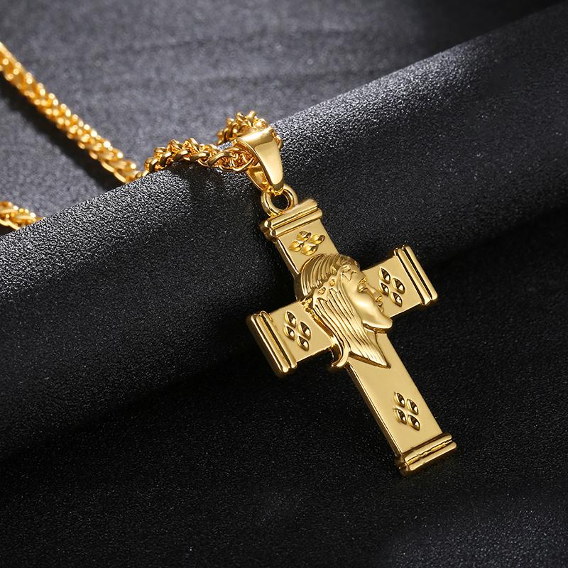 Collar Cruz en forma de Lágrima Perla Y Crucifijo Jesús Santo Religioso Chicas Damas CXV10F