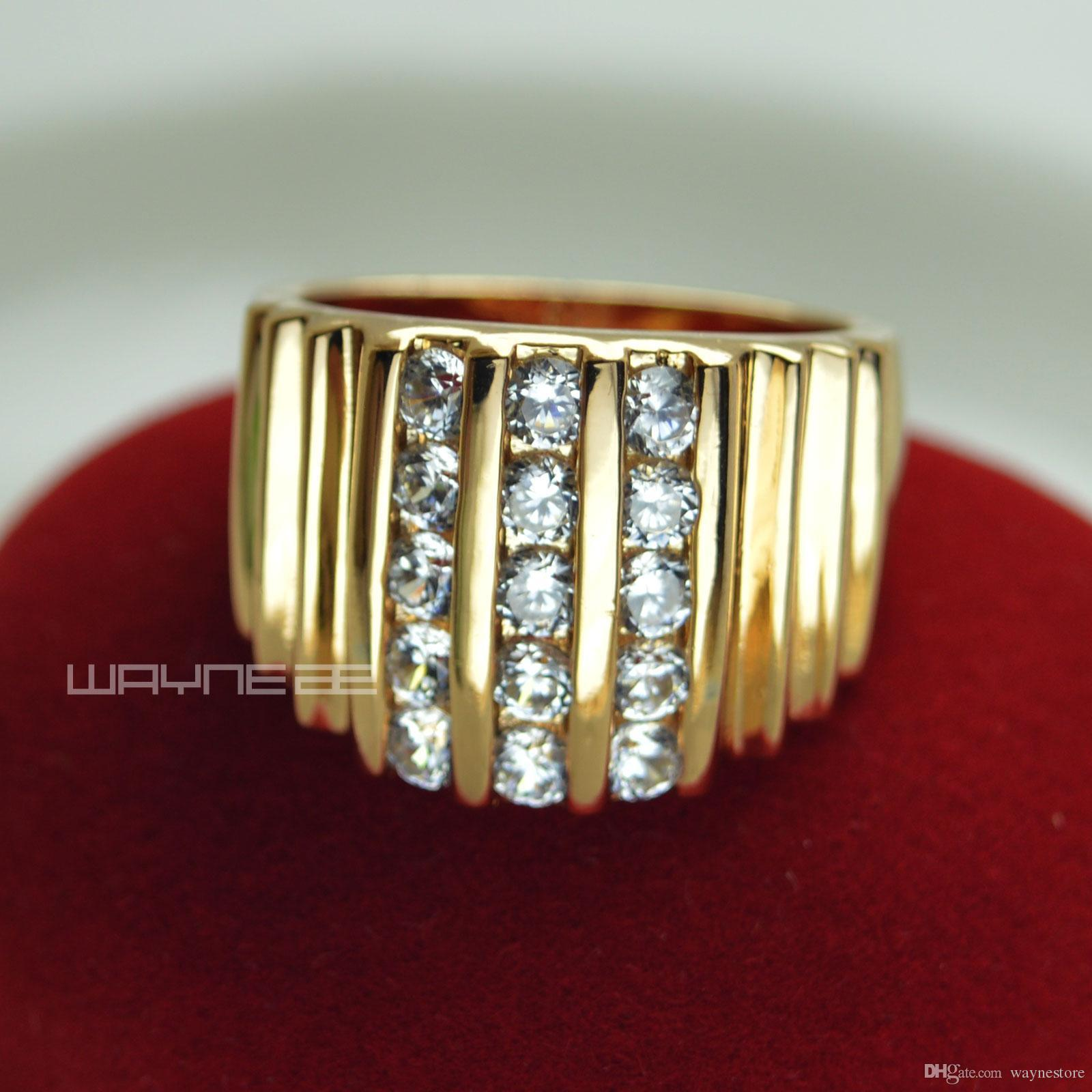 R117 SZ8-15 18k Gold Filled Lab Diamond Wide Band Men Engagement Wedding ring