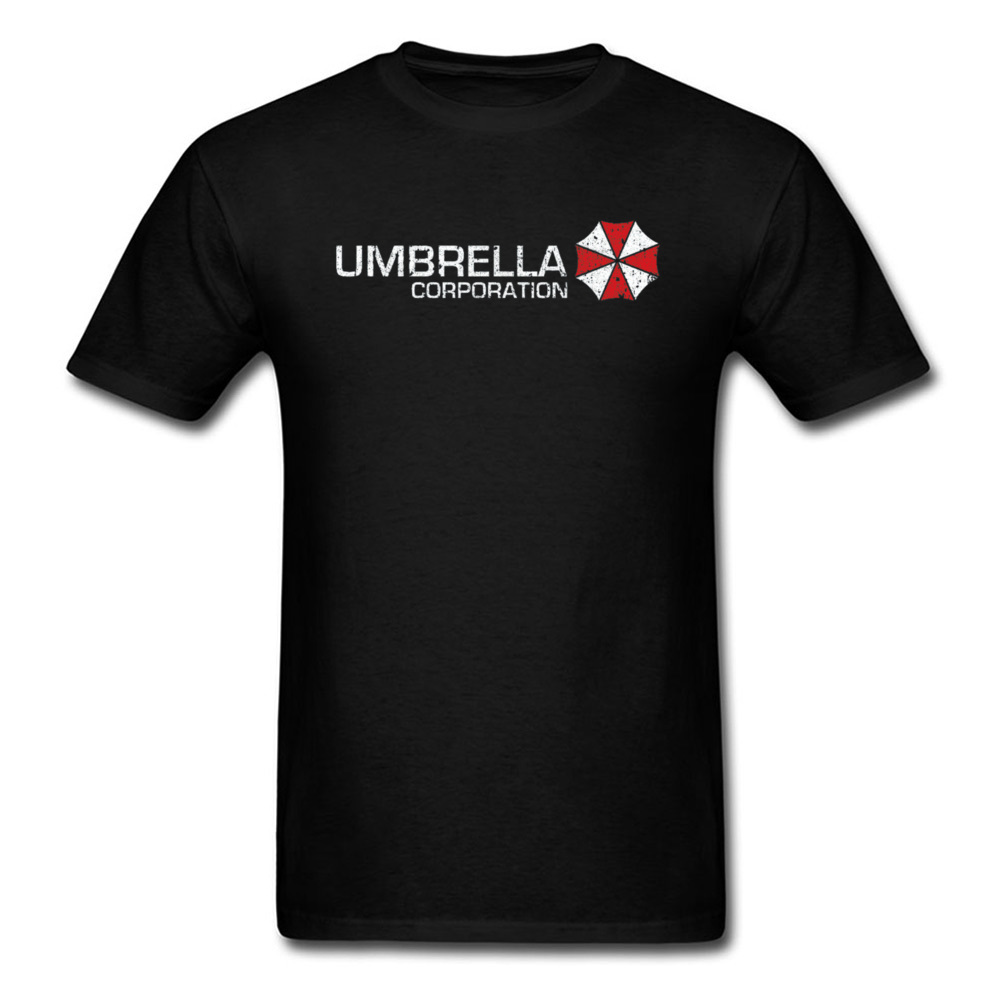 Funky Men T-shirt Umbrella Corporation T Shirt Resident Evil Tshirt Biohazard Gamer Tops & Tees Logo Print Black Clothes Cotton