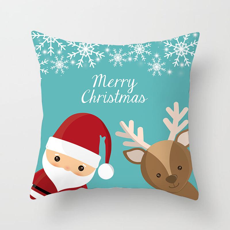 1Pcs 4545 Cm Happy New Year Christmas Decorations for Home Cartoon Santa Claus Xmas Decorative Pillows Cover adornos navidad (5)