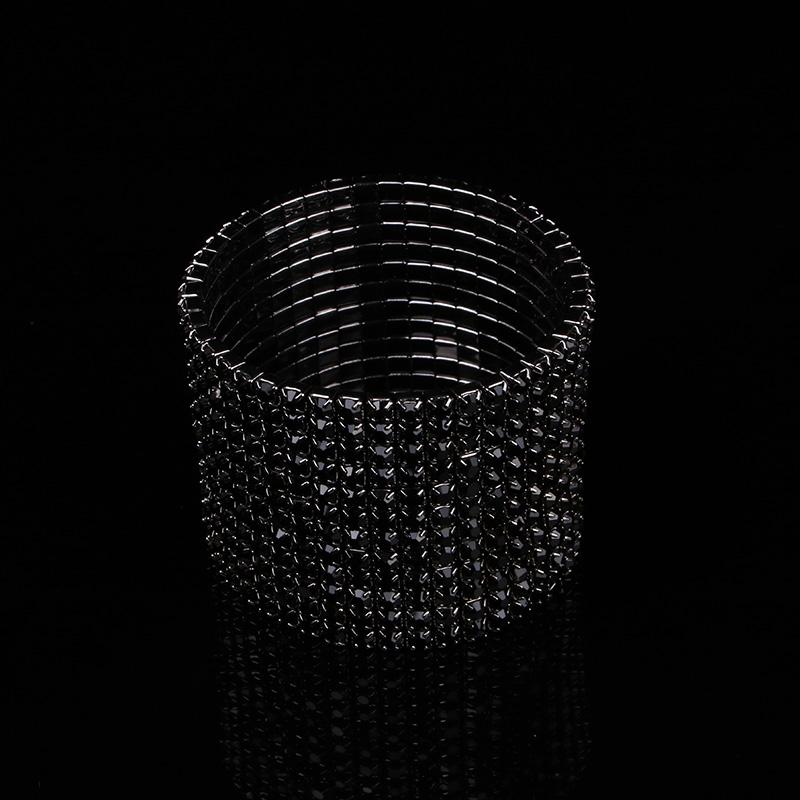 TDQUEEN 12 Rows Black Crystal Rhinestone Bangle Bracelet Black Gun Plated Metal Wide Indian Bangles for Women (2)