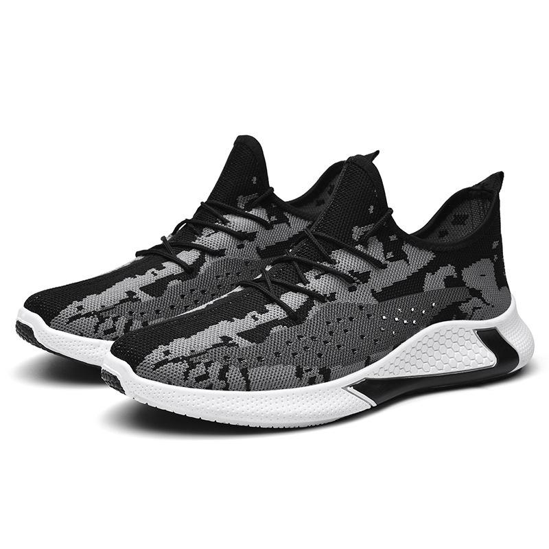 2020 primavera e verão sapatos novos homens de esportes fly-tecidos sapatos casuais malha respirável sapatos único fundo macio