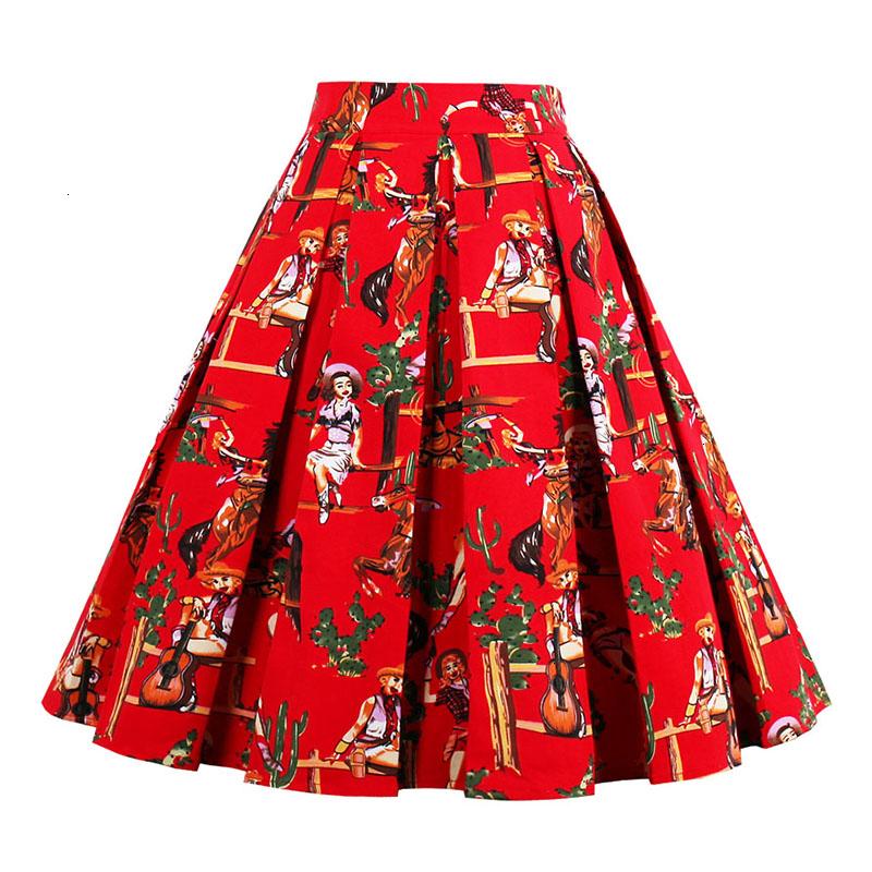 Kostlish Retro Print Flower Summer Skirts Womens High Waist Vintage Skirt Elegant A-Line Midi Women Skirt Plus Size XXL 22 (82)