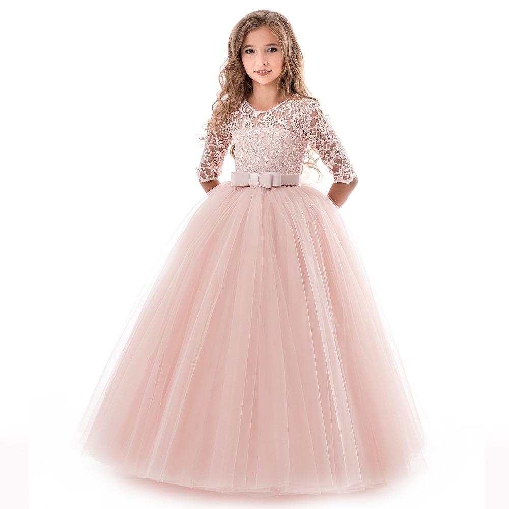 schöne erröten rosa langarm-blumen-mädchen-kleider für hochzeit sparkly  sequin crystals rüschen tüll bogen nach maß mädchen-festzug-kleid