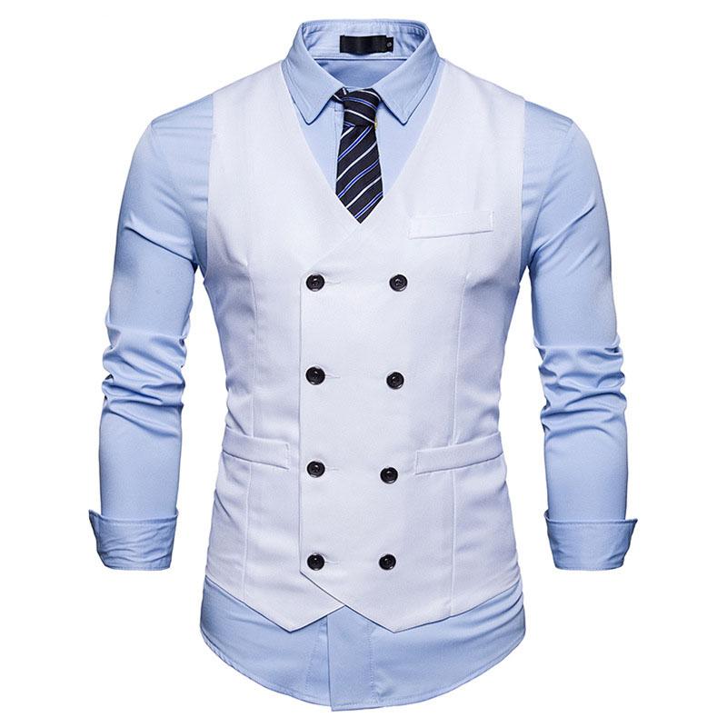 Mens Double Breasted Grey Vest V-Neck Business Suit Dress Waistcoat Vests Button Down Vest