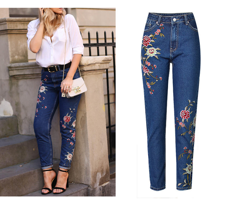 2017 European and American women 3D stereo front and rear side embroidery high waist Slim cowboy nine feet pants fashion wild (5)
