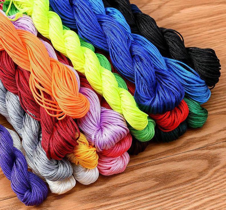 Dia:1mm 220 Meters Nylon Handcraft Braid Rattail Cord Chinese Knotting Thread Rope Black