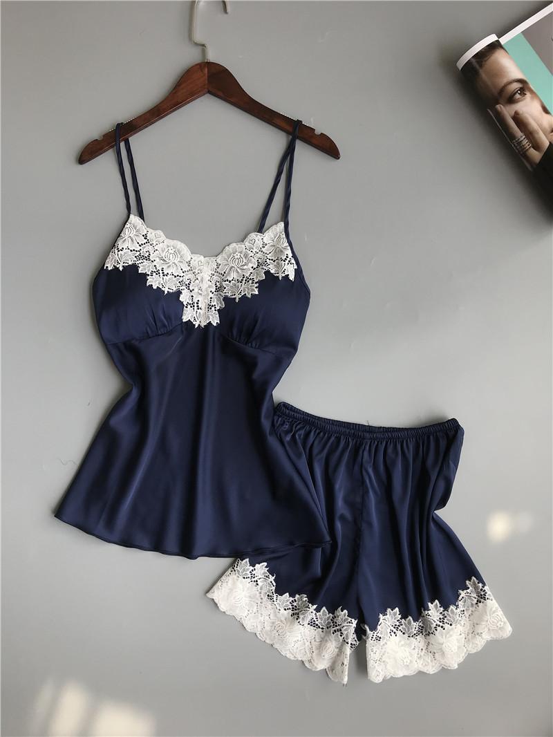 Queenral Pajama Sets For Women Summer Silk Satin Pijama Lingerie Sexy Pyjamas Women Nightie With Chest Pad Femme Pajama Shorts 2