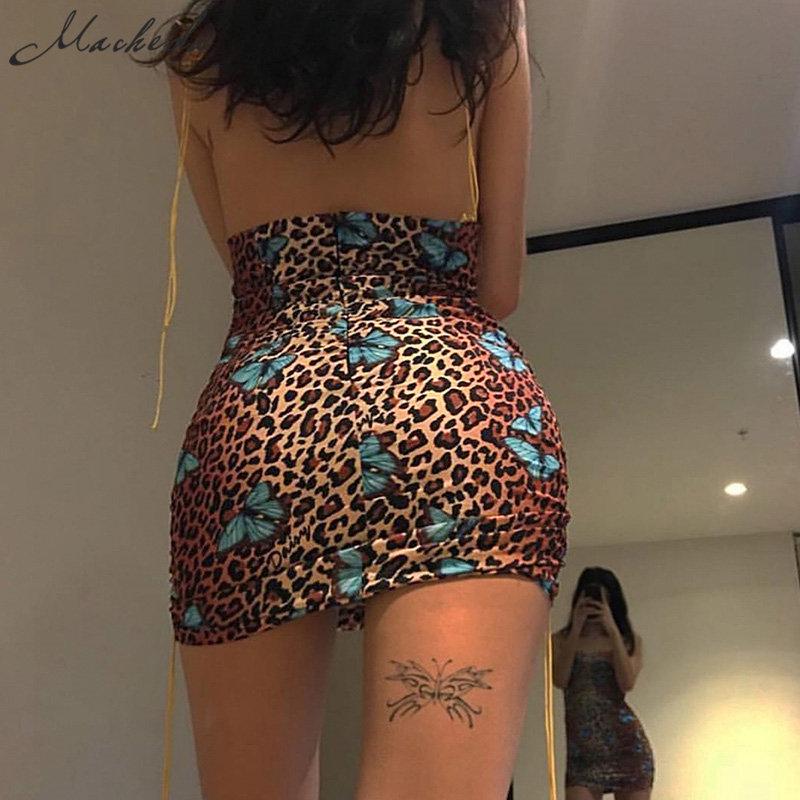 2019 Femmes Imprimer Spaghetti Strap Dress Été Sexy Mince Dos Nu Mini Robes Taille Haute Lace Up Ladies Casual Nouveau