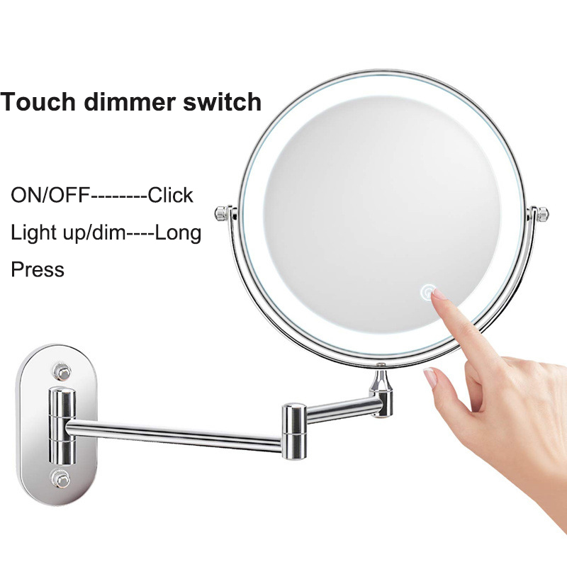 8 inch Wall Mounted Led Makeup Mirror 10X Magnifying Touch Bright Adjustable Bathroom Wall Mirrors Double Sided Vanity Mirror 2