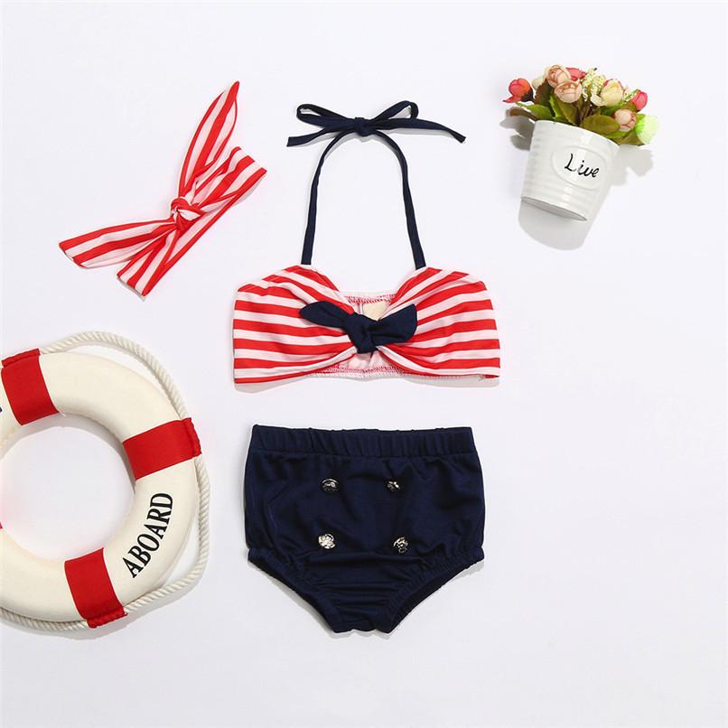 3Pcs Baby Girl Swimwear Infant Kids Baby Girls Straps Bow Tops+Button Shorts+Headband Swimwear Beach Swimsuit Bathing Set M8Y17 (6)