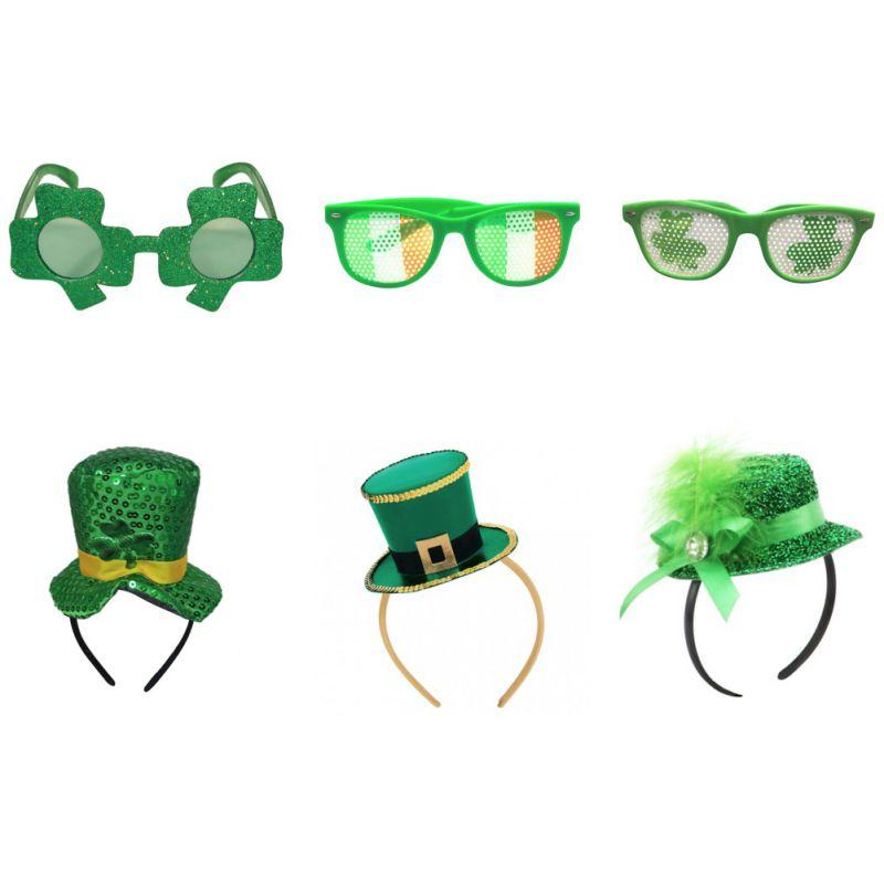 Verde irlandesa Clover Gafas Gafas De Sol St Patricks Day irlandés Fancy Dress