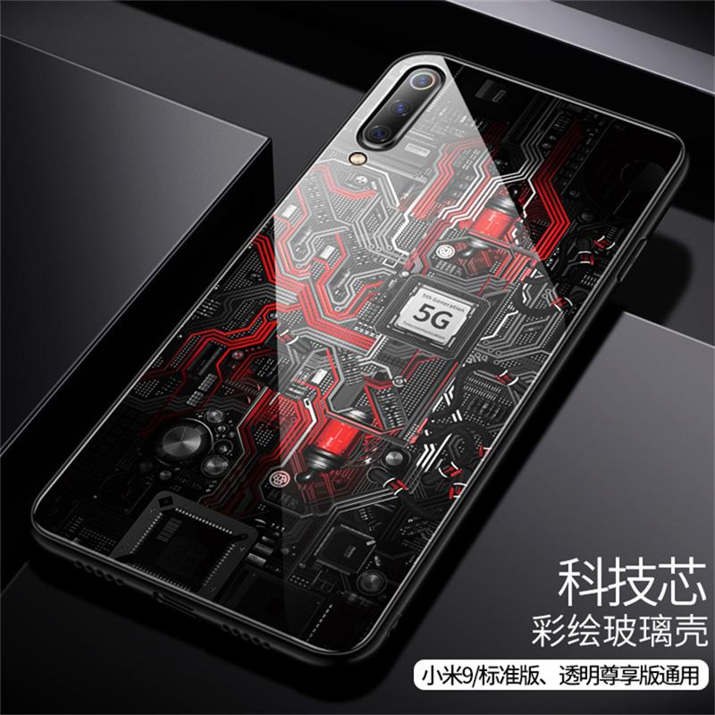 Aixuan Glass Case For Xiaomi mi 9 Mi9 Explorer Xiaomi mi 9 SE Case painted Tempered Glass Silicon Protective full Cover Cases (10)