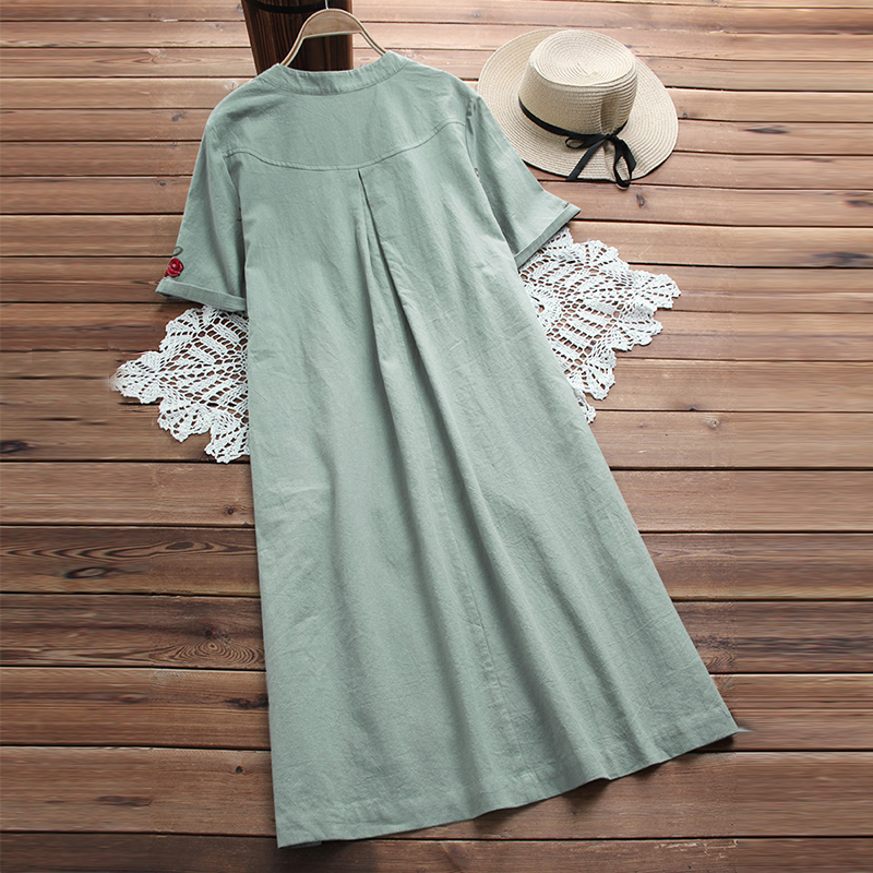 Plus Size Dress Women Embroidery Dresses Summer Vintage Vestidos Ladies Beach Party Sundress Vestido Short Robe Femme S-5xl Q190510