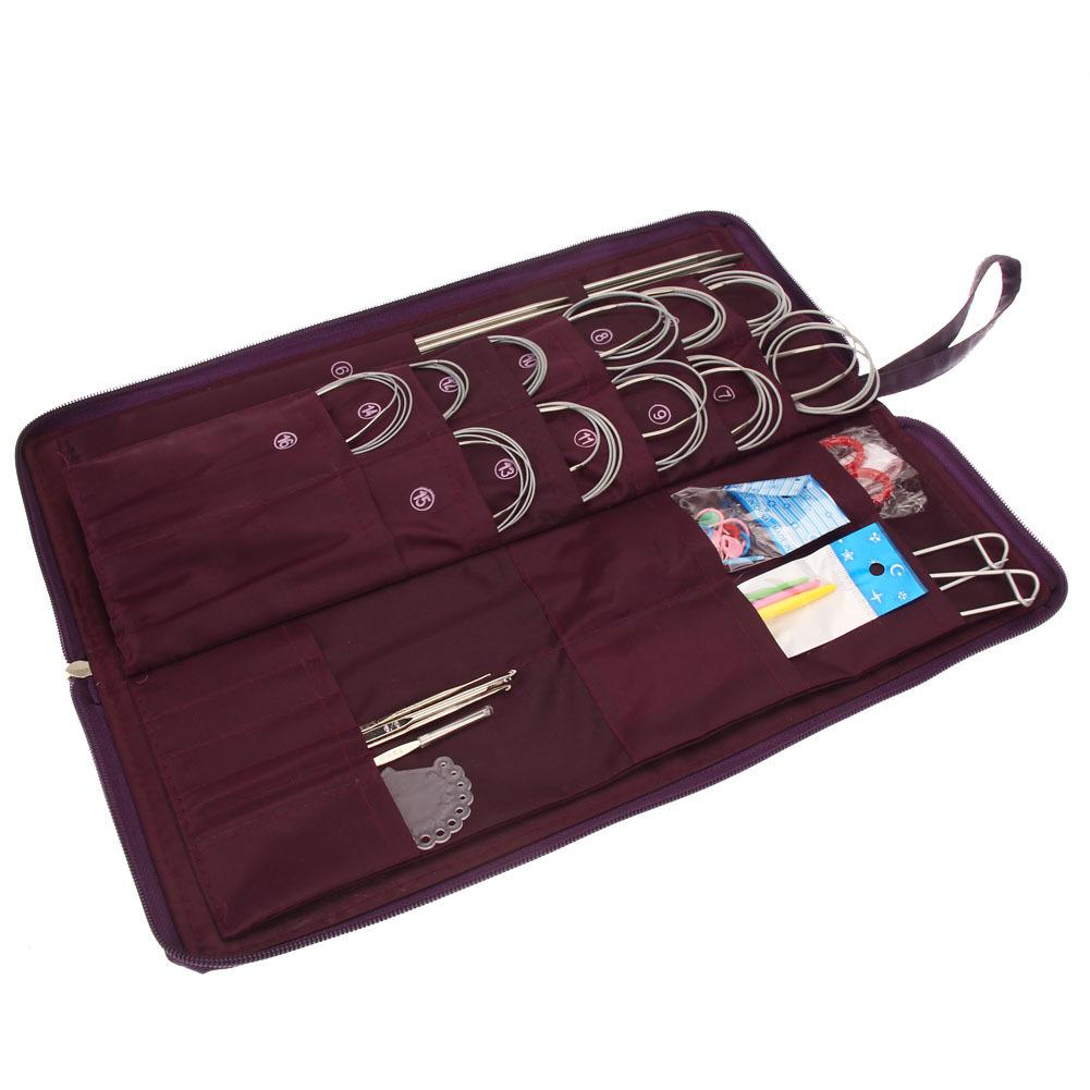 20 diverse misure in acciaio inox dritto ferri da maglia circolari uncinetto set tessuto Q190531