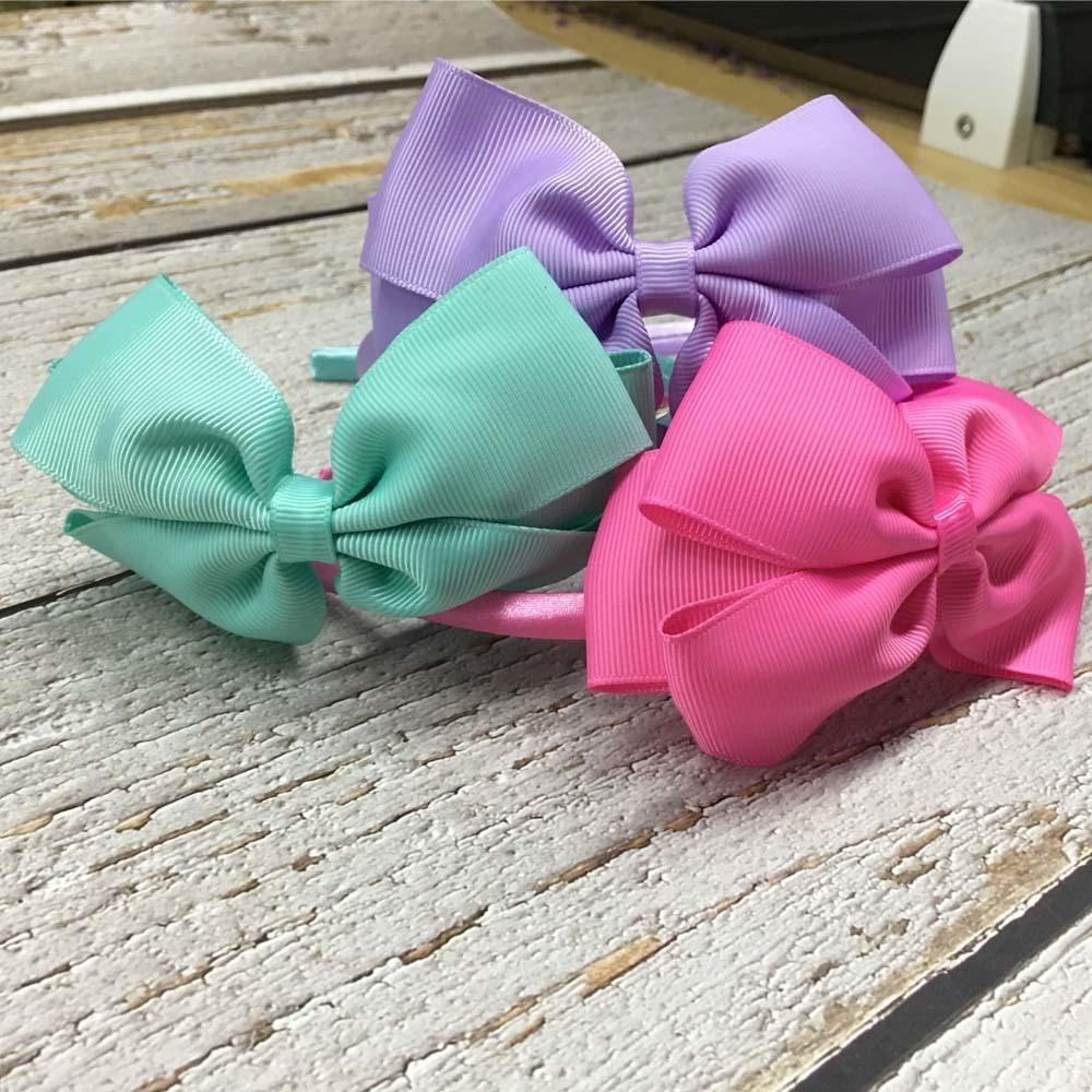11 unids / lote Alta Calidad Sólido Hairbands Princesa Accesorios Para el Cabello Big Bows Plastic Hairband Chica Accesorios para el Cabello Diadema T190706