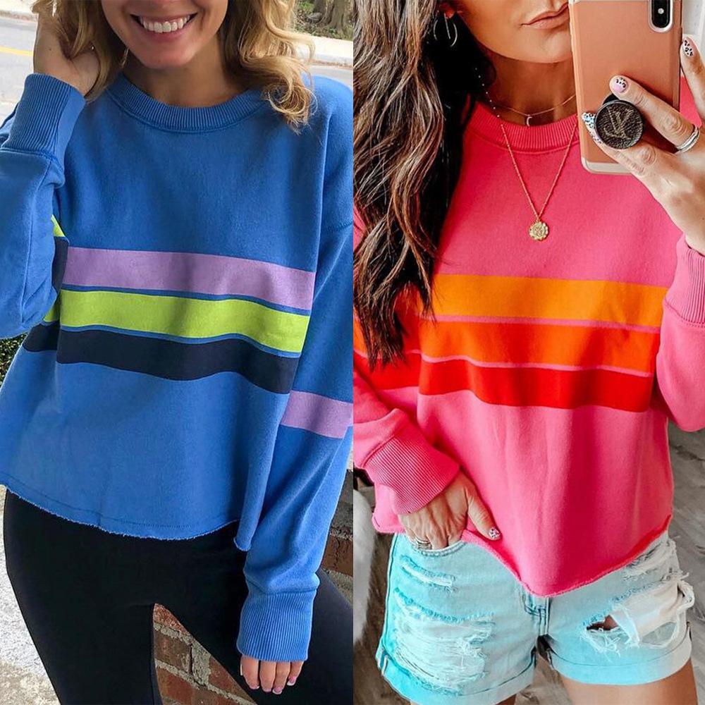 Modedesigner-Strickjacke 2019 Neue Art und Weise druckte gestreiftes T-Shirt Langärmlige Jacken-Strickjacke der Frauen weiblich
