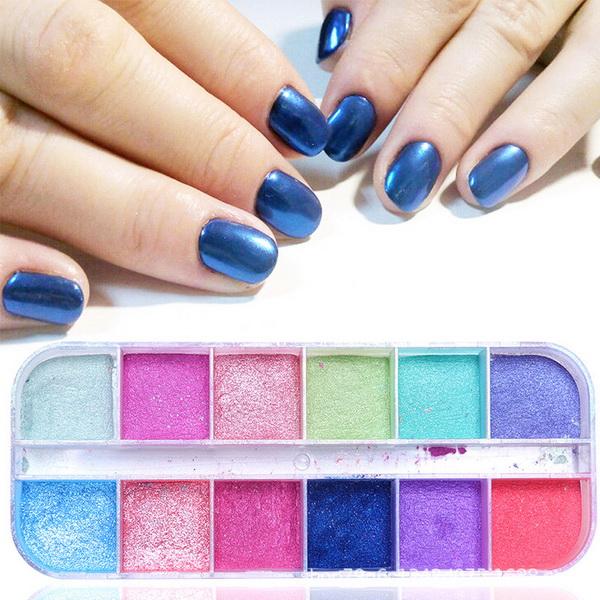 Compre Por Dhl 500boxes 12 Rejillas Polvo Para Uñas Inmersión Polvo De Brillo Polvo De Pigmento Colorido Frotar Perla Brillo Para Nail Art Nuevo A