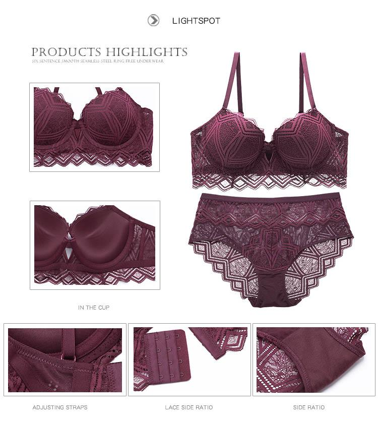 CINOON New Top Sexy Underwear Set Push-up Bra And Panty Sets Hollow Brassiere Gather Sexy Bra Embroidery Lace Lingerie Set (7)