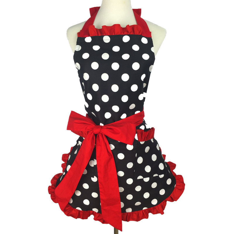 Hot Lovely Sweetheart Retro Kitchen Aprons For Woman Girl Cotton Polka Dot Cooking Salon Pinafore Vintage Apron Dress Christmas Q190601