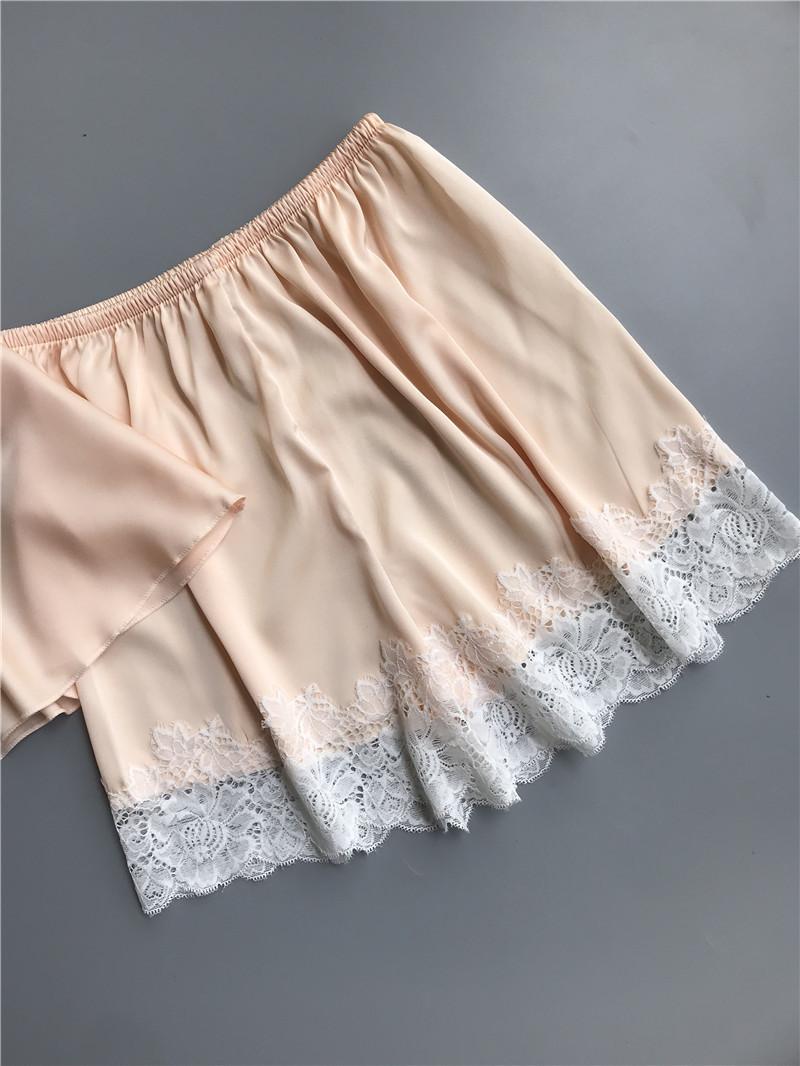 Queenral Pajama Sets For Women Summer Silk Satin Pijama Lingerie Sexy Pyjamas Women Nightie With Chest Pad Femme Pajama Shorts 8