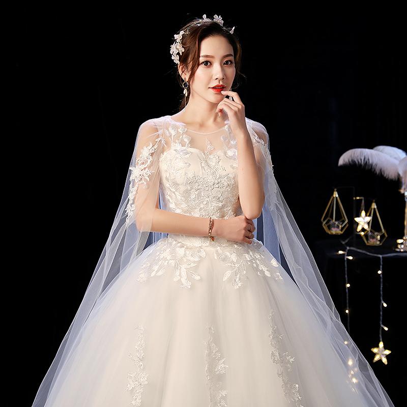 It's Yiiya Wedding Dress O-neck Fake Shawl Wedding Dresses Sleeveless Embroidery Full Lace Sweep Train White Bridal Gowns Xxn237 Y19072901