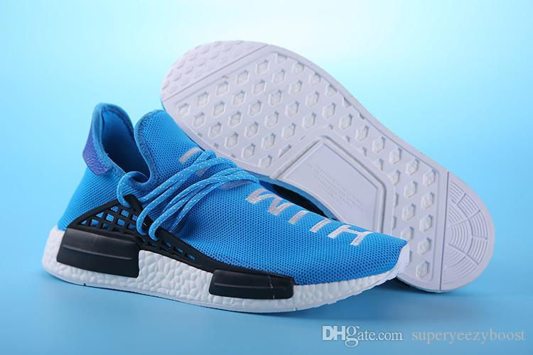 Nmd 2019 İnsan Yarışı Pharrell Williams X Erkek Kadın Koşu Ayakkabıları Siyah Kırmızı Sarı Mavi Yeşil Gri Spor Sneakers 39-46