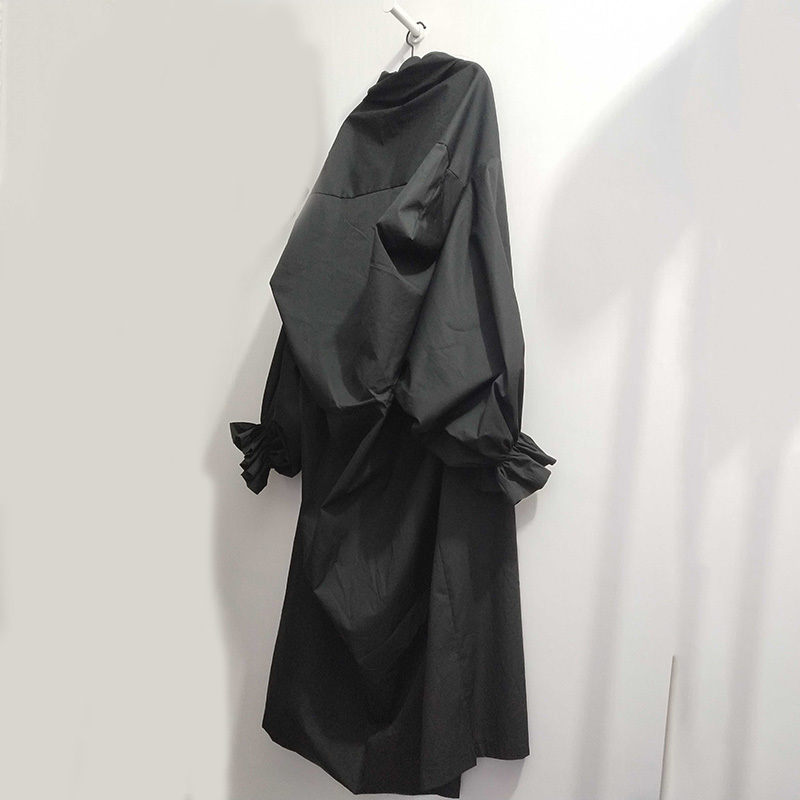 [eam] 2019 Spring Summer Woman Stylish New Black Color Pleated Long Puff Sleeve V Neck Long Loose Draped Big Size Dress Lg029 T4190615