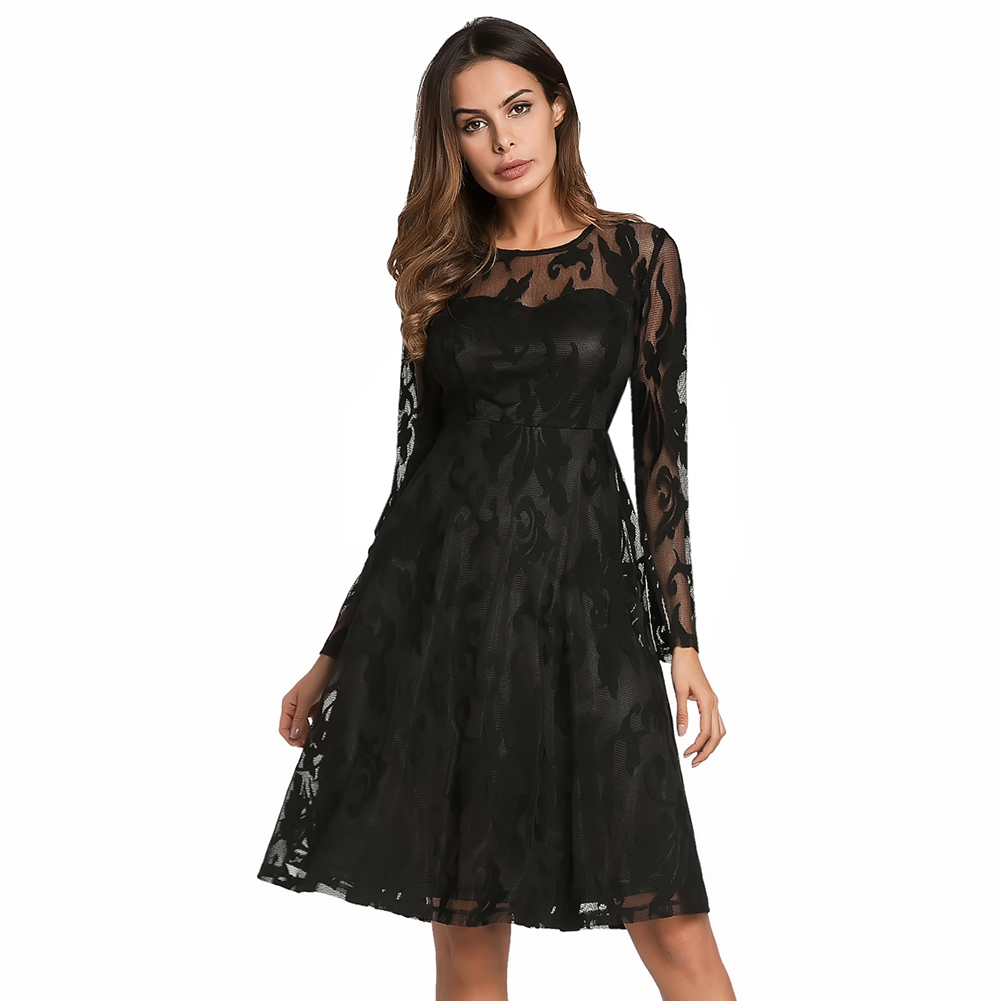 Sexy Women Lace Dress Sheer Long Sleeve O-Neck Slim Fit and Flare Summer Dress 2019 Elegant Ladies Cocktail Party Dresses