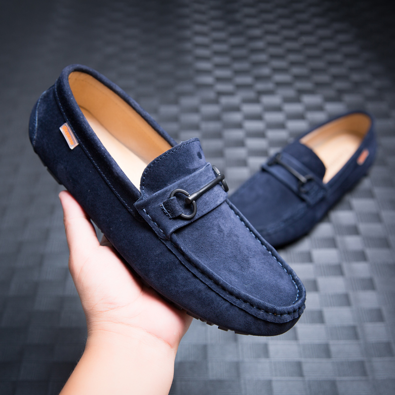 Mens Square Toe Flat Comfort Driving Shoes Breathable Suede Loafers Oxfords