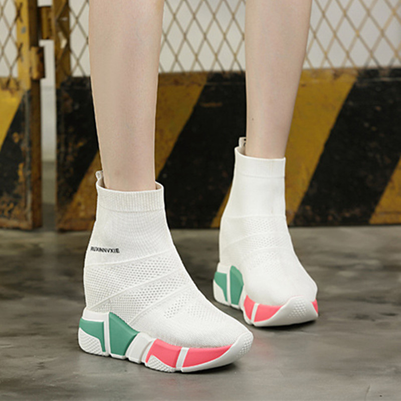 SWYIVY White New Shoes Woman Platform Sneakers 2019 Spring Female Casual Shoes High Top Short Ankle Boots Velvet Fur Sneakers