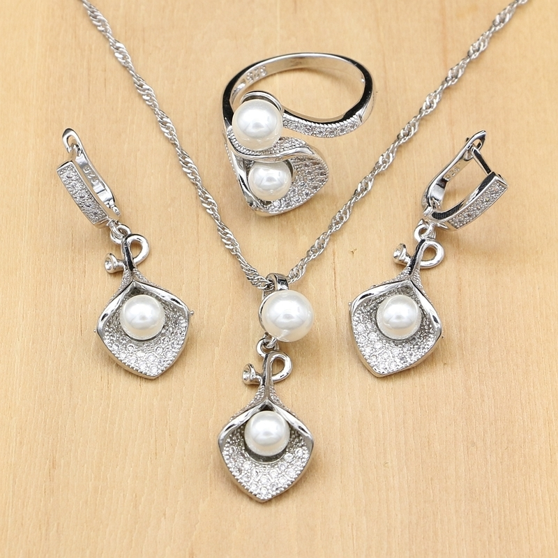 925 Silver Bridal Jewelry Sets White Pearl Zircon For Women Wedding Pendant Drop Earrings Rings Morning Glory Necklace Set (4)